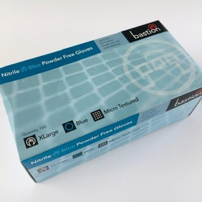 Blue Examination Glove - XLarge Ambidextrous Fully micro textured for superior wet and dry grip Increased thickness for excellent puncture resistant and strength Latex Fee Bastion Brand Box 100 Disposable Nitrile gloves for first aid use, first aid and medical rooms